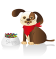 brown dog with red scarf and food container issola vector image