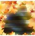 Autumn Leaves over wooden background EPS10 vector image
