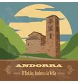 Andorra landmarks Retro styled image vector image