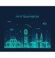 Ahmedabad skyline linear vector image