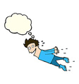 cartoon drenched man flying with thought bubble vector image