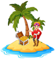 women Pirate in the treasure island vector image