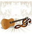 acoustic guitar rests on the treble clef vector image