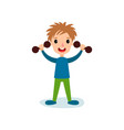 smiling little boy character exercising with vector image