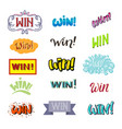win lettering text set winner with prize vector image