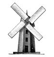 Windmill vintage engraving vector image