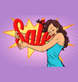 woman hugging sales love to shopping vector image