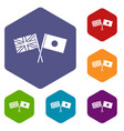 uk and japan flags crossed icons set vector image
