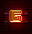 neon city font number 6 vector image
