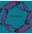 Frame with purple fishes on blue background vector image
