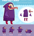 Fantasy Bird creature Game Character Sprite Sheet vector image