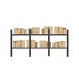 storage stand with delivery boxes in flat design vector image