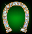Horseshoe with diamonds vector image vector image