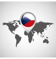 world map with pointer flag czech republic vector image
