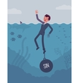Businessman drowning chained with a weight Sin vector image