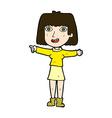 comic cartoon happy woman pointing vector image