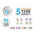 Set of warranty stickers vector image vector image