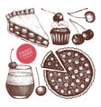 card design with cherry baking vector image
