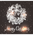Christmas Card With Sketch Wreath vector image