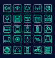 Collection of technology line icon vector image