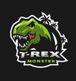 dinosaur head logo emblem vector image