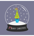 Fir tree toys bow Crystal ball and snowflakes vector image