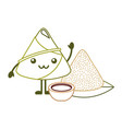 kawaii happy rice dumpling with sauce cartoon vector image