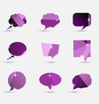 Set of purple polygonal geometric speech bubble vector image