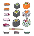 Various different types of sushi vector image