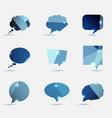 set of blue polygonal geometric speech bubble vector image