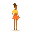 happy african american girl in street fashion vector image vector image