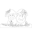 Mushrooms - husband and wife contours vector image vector image