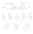 Hands set Isolated on white background vector image