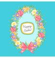 Easter wreath egg blue vector image vector image