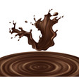 3d realistic chocolate splash vector image
