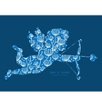 blue white lineart plants shooting cupid vector image