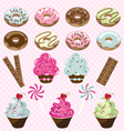 donuts cupcakes and candy vector image
