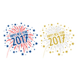 Firework with Happy new year 2017 on white backgro vector image