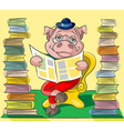 Bibliophile pig vector image vector image