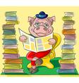 Bibliophile pig vector image