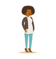 casual african american girl with curly hair and vector image