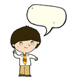 cartoon boy with idea with speech bubble vector image