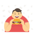 Happy fat man eating a big hamburger vector image