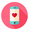 Smartphone with Love Heart Sign Circle Icon vector image