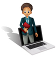 Laptop businessman vector image vector image