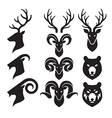Animal Horn and Head Icons Set Goat Deer and Bear vector image