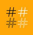 hashtag set black and white icon vector image