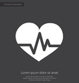 heart pulse premium icon white on dark background vector image
