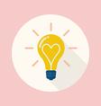 Lightbulb of love flat icon vector image
