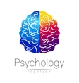 Modern Brain logo of Psychology Human Creative vector image